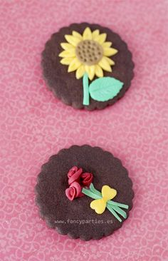 Sunflower and Roses Cookies by www.fancyparties.es