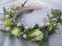 Hair band of fresh flowers- roses, gypsophila & eucalyptus by Apple Blossom Flowers