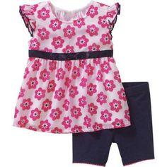 Healthtex Newborn Baby Girls' Empire Waist Chiffon Top with Short Leggings Outfit Set, Newborn Girl's, Size: 18 Months, White