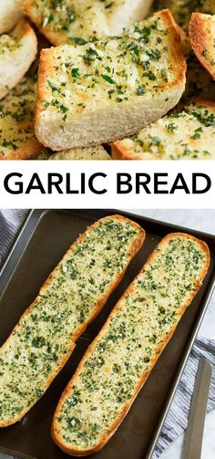 Fresh and flavorful garlic bread warm from the oven! With perfectly crisp edges, a soft buttery center, and toasted top with fresh garlic and herbs. Make Garlic Bread, Homemade Garlic Bread, Recipes With Garlic Bread, Baked Garlic Bread Recipe, Healthy Garlic Bread, Stuffed Bread Recipes, Garlic Toast Recipe, Italian Bread Recipes, Tasty Bread Recipe