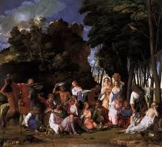 """Title: The Feast of the Gods Artists: Titian, Giovanni Bellini Location: National Gallery of Art Dimensions: 5'7"""" x 6'2"""" Created- 1514-1529 subject: Gods  This painting shows the God's feating. It is often called often called """"The greatest Renaissance printings in the United States."""