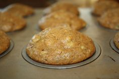 Healthier, real-food banana nut muffins :)