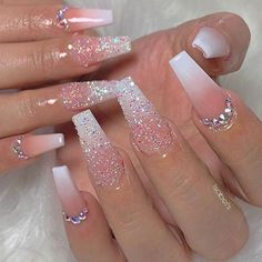 Beautiful white ombre coffin nails with glitter and rhinestones nail designs Ongles Bling Bling, Rhinestone Nails, Bling Nails, Sparkle Nails, Cute Acrylic Nail Designs, Best Acrylic Nails, White Acrylic Nails With Glitter, Acrylic Nail Designs Glitter, Coffin Nails Glitter