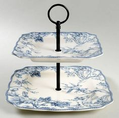 222 Fifth (PTS) Adelaide Blue & White 2 Tiered Serving Tray (Square Dinner&Salad Plate)