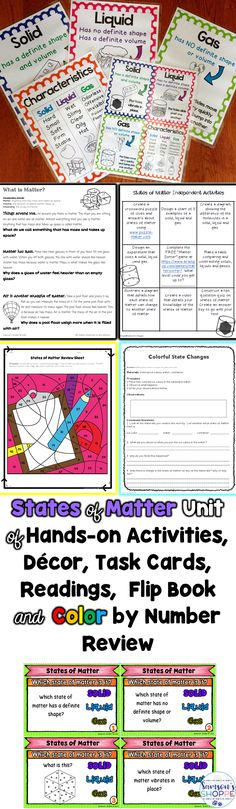 States of Matter | Solid | Liquid | Gas | Engage your students in hands on learning with this unit which includes nonfiction readings, hands on activities, choice homework, digital, Boom and printable task cards and color by number review worksheets.