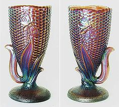 Millersburg carnival glass Butterfly and Corn vase.  Very hard to find! http://www.morninggloryantiquescollect.com/