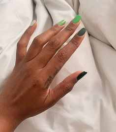 Nail Color Trends 2021: Green Glitter French Manicure, French Tip Nails, Navy Nails, Green Nails, Shiny Nails, Funky Nails, Matte Nail Colors, Statement Nail, Popular Nail Colors
