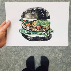 I couldn't resist painting the black burger. I was looking for a good reference photo and then I found one from the local chef! Inspired by . Black Burger, Speed Art, Food Painting, Personal Portfolio, Food Drawing, Food Illustrations, Food Styling, The Locals, Food Art
