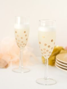 The Best Gold Craft Supplies and How to Use Them. Liquid gelding on DIY polka dot champagne glasses. » Lovely Indeed