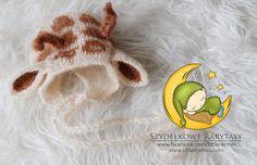 RTS sale  giraffe bonnet  newborn photo prop by MyLittleRarities