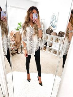 Leopard Heels Outfit, Heels Outfits, Night Out Outfit, Night Outfits, Fall Outfits, Leggings And Heels, Spanx Faux Leather Leggings, Dressy Casual Outfits, Sexy Wife