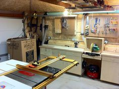 (pardon the new stove in the box). Also table saw with Incra fence system. Mitre Saw Station, Table Saw Station, Christmas Decorations To Make, Christmas Diy, Table Saw Fence, New Stove, Woodworking Shop Layout, Shop Cabinets, Miter Saw