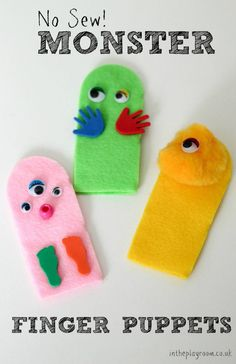 Simple no sew monster finger puppets to make with kids
