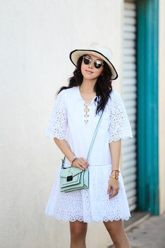 Eyelet trim makes our relaxed white dress equal parts sweet and chic - as worn by Dior So Real Sunglasses, Day Dresses, Dresses For Work, Tie Front Dress, Spring Summer Fashion, Spring Style, Eyelet Dress, Dress Hats, Modern Outfits