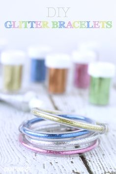 DIY Glitter Bracelets. My daughter would LOVE this!! Cute and easy tutorial (: