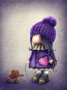 Illustration of a cute Tilda doll by Elena Schweitzer Doll Drawing, Cute Girl Drawing, Cartoon Girl Drawing, Girl Cartoon, Cute Easy Drawings, Kawaii Drawings, Cute Cartoon Pictures, Cute Girl Wallpaper, Little Doll