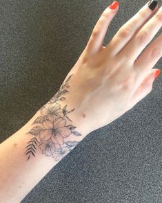 my wrap around wrist of flowers done by laura morkūnaitė at ink factory, kaunas, lithuania : tattoos Wrap Around Wrist Tattoos, Inner Wrist Tattoos, Wrist Tattoo Cover Up, Flower Wrist Tattoos, Dainty Tattoos, Wrist Tattoos For Women, Rose Tattoos, Body Art Tattoos, Small Tattoos
