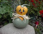 Spring Chick Easter Gourd, hand painted USA, Kathy's Holiday