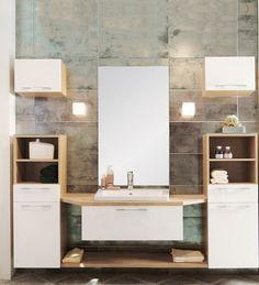 J'aime le mix du blanc et bois et l'idée d'avoir chacun son meuble. De plus l'effet suspendu du tiroir et l'étagère au dessous me séduisent également. Dommage qu'il n'y ait qu'une seule vasque!