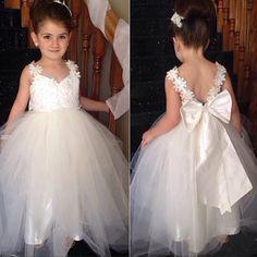 Ivory Strap Lace Top Cute Tulle V- back Flower Girl Dresses, FG006