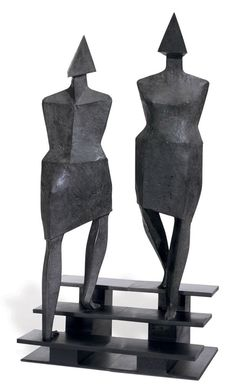 Lynn Chadwick (1914-2003) Stairs stamped with number 'C125 6/9' (on the lower edge of each sculpture) two elements--bronze overall: 41½ x 21 x 15 in. (105 x 53.2 x 38.1 cm.) Executed in 1990. This work is number six from an edition of nine.  Literature  F. Farr & E. Chadwick, Lynn Chadwick Sculptor, With a Complete Illustrated Catalogue, Gloucestershire, 1997, pp. 414-415, no. C125 (illustrated).