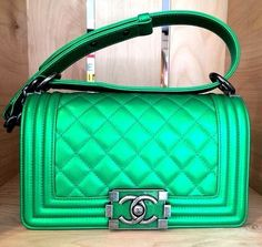 Chanel green metallic bag. Want & Love! Pic taken from OOHLALA magazine.