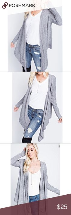 Cardigan Draped Loose Gauge Ribbed Uneven Neckline Cardigan Draped Loose Gauge Ribbed Uneven Neckline 50% rayon 25% Poly 25% Nylon Sweaters Cardigans