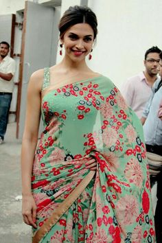 Looks like Japanese Spring. Deepika Padukone. Sheer floral print saree.