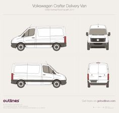 Volkswagen Crafter Delivery Van SWB Normal Roof (Facelift) vector PDF templates