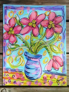 Pink flower in blue vase