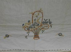 Embroidered flower basket table runner has running stitch along the edges. Done on cotton muslin. In vintage condition with no issues. This has