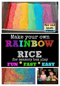 Pink and Green Mama: Rainbow Rice Is Twice As Nice! Make Your Own Colored Rice For A Sensory Box