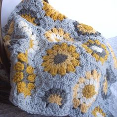 OH MARIE!        Crochet Hexagon Blanket- Granny Square Blanket- Grey Gray Decor- Mustard Yellow Gray Cream 37 x 45 Crochet Aghan Sofa Throw via Etsy