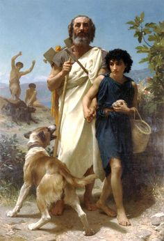 Homer and His Guide (Homère et son guide), William-Adolphe Bouguereau (French, Oil on canvas 82 x 56 in. The Milwaukee Art Museum Layton Art Collection Inc., Gift of Frederick Layton William Adolphe Bouguereau, Milwaukee Art Museum, Painting Prints, Art Prints, Buy Paintings, Canvas Prints, Oil Painting Reproductions, Art History, Roman History