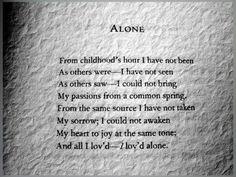 Alone... Edgar Allen Poe...