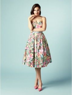 REVIEW 1950s Style Floral Aloha Strapless Belted Midi Prom Dress 10