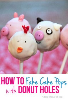 Love the look of cake pops, but don't want to spend all that time making them? Try making 'fake cake pops' using donut holes instead! Barnyard Cake, Brownies, Cowboy Birthday Party, Birthday Ideas, Barn Cake, Cowgirl Baby Showers, Cake Oven, Donut Holes, Diy Party