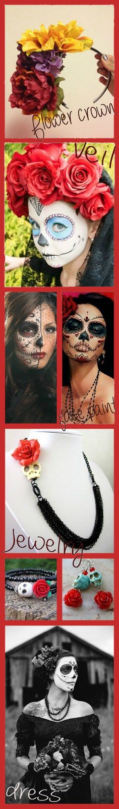 My inspiration for putting my Dia de los Muertos outfit together. A Flower crown, a white veil, face paint, home made jewelry, a dark navy blue dress and tights