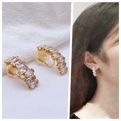 Clip On Earrings, Stud Earrings, Ear Piercings, Elegant Wedding, Spiral, Wire, Brass, Change, Crystals