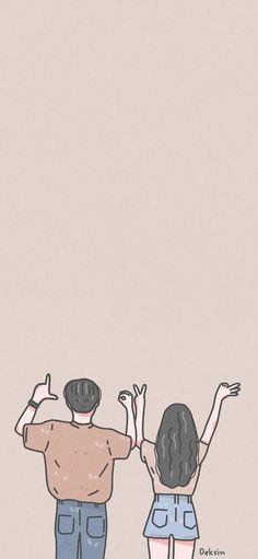 Cute Couple Drawings, Cute Couple Cartoon, Cute Couple Art, Cute Love Cartoons, Cute Drawings, Kawaii Wallpaper, Cute Wallpaper Backgrounds, Cute Cartoon Wallpapers, Cover Wattpad