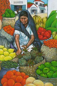 Market Day Painting by Lorraine Klotz Mexican Paintings, Indian Art Paintings, Mexican Artwork, Arte Latina, Aluminum Foil Art, Hispanic Art, Haitian Art, Mexico Art, Canvas Art