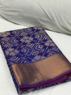 Blue with Rhombus Floral Banarasi Silk Saree Blue Silk Saree, Kota Silk Saree, Green Saree, Pure Silk Sarees, Cotton Saree, Cotton Silk, Phulkari Saree, Tussar Silk Saree, Organza Saree
