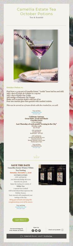 Camellia Estate Tea  October Potions  Tea & Scandal Kettle One Vodka, Frozen Drinks, Loose Leaf Tea, Camellia, Scandal, Martini, October, Passion