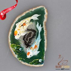 NEW! HAND PAINTED GOLDFISH AGATE SLICE GEMSTONE NECKLACE PENDANT ZP80 00017 #ZL #PENDANT