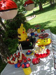 pokemon birthday party ideas. Love the big paper lanterns!!!!