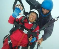 Peggy McAlpine, who has two children, four grandchildren and two great-grandchildren, leapt from a 2,400ft peak in northern Cyprus.