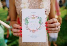 Pink & Aqua Beach-Themed Wedding Invitations