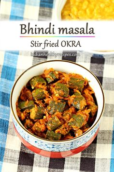 Bhindi masala is a healthy delicious dish made of stir fried okra in onion tomato masala. Serve okra with rice or roti. Curry Recipes, Beef Recipes, Vegetarian Recipes, Healthy Recipes, Vegetarian Barbecue, Barbecue Recipes, Vegetarian Cooking, Easy Cooking, Cooking Tips