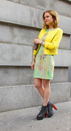 TV presenter Antonia O'Brien wearing our Gryphon NY Happy Jacket, Cut 25 Rainbow Acid Dress and Jeffrey Campbell Lita's!    http://blog.oxygenboutique.com/live-on-oxygen/antonia-obriens-making-us-jealous-in-her-tuesday-ensemble-for-live-on-oxygen/