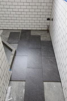 For My Bathroom Renovation, I Finally Decided On Large Slate Tiles For The Bathroom  Floor